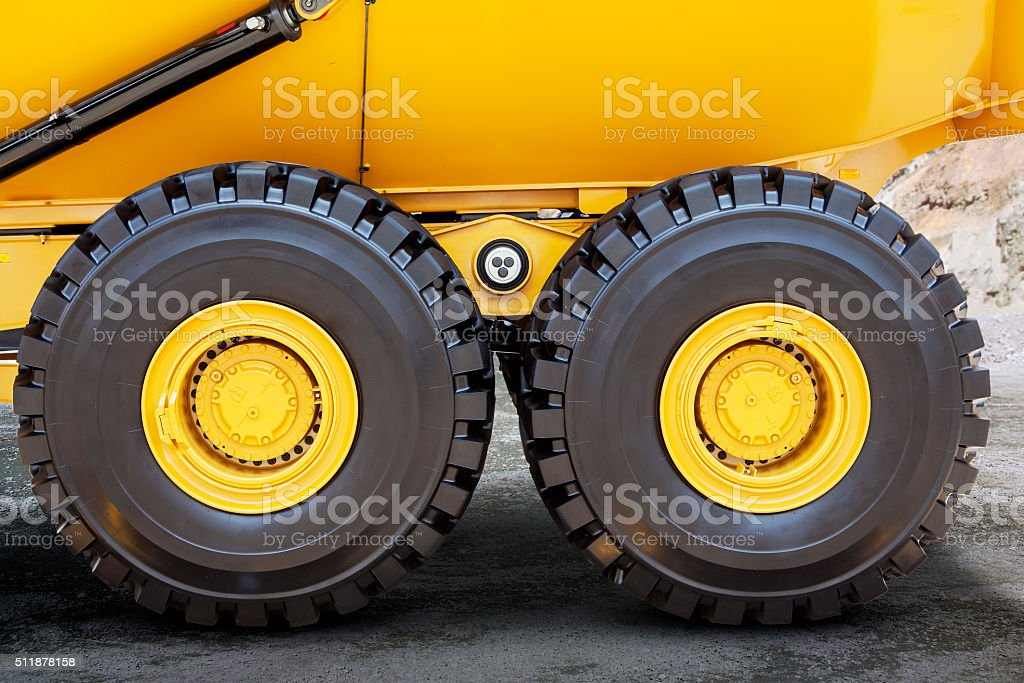 Tires of mining truck stock photo