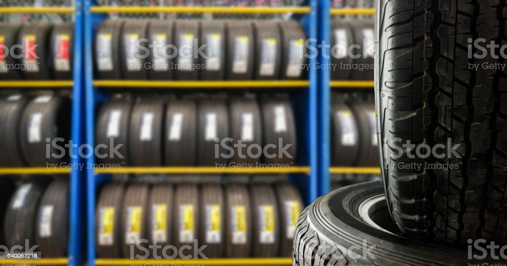 Tires showing for sell or fix stock photo