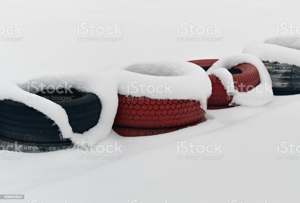 Tires under snow stock photo
