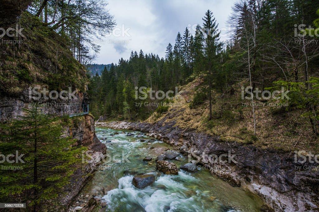 Tirol Gorge River Water Flowing Mountainscape Austria stock photo