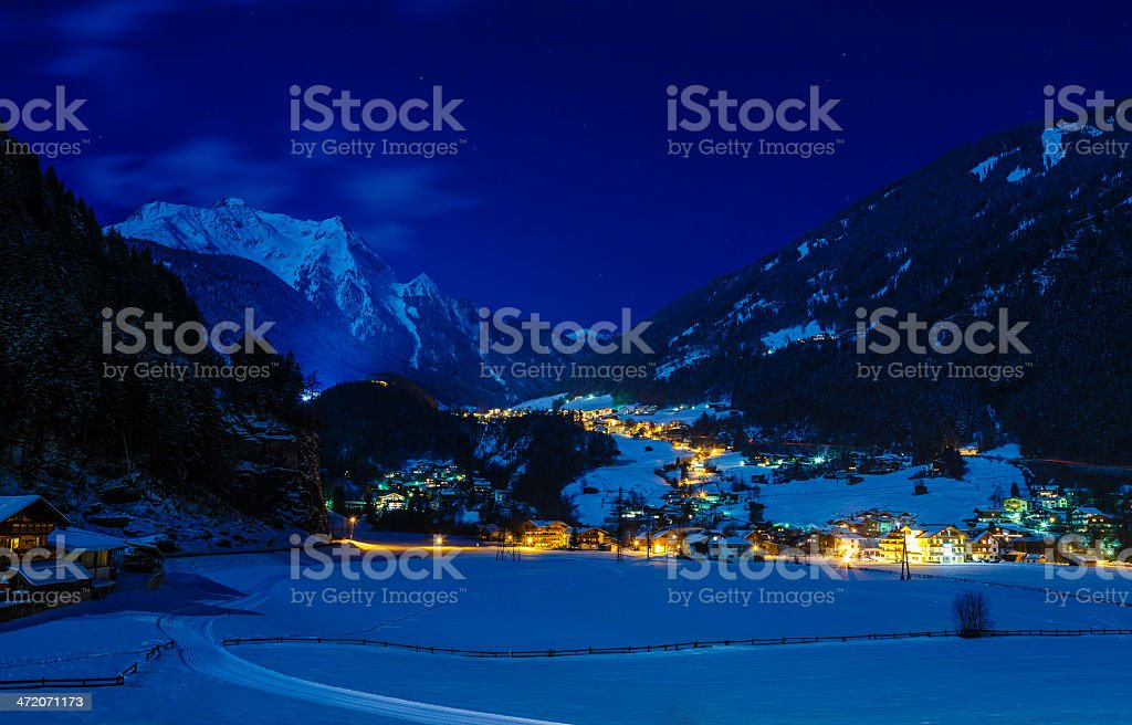 Tirol valley in winter night stock photo