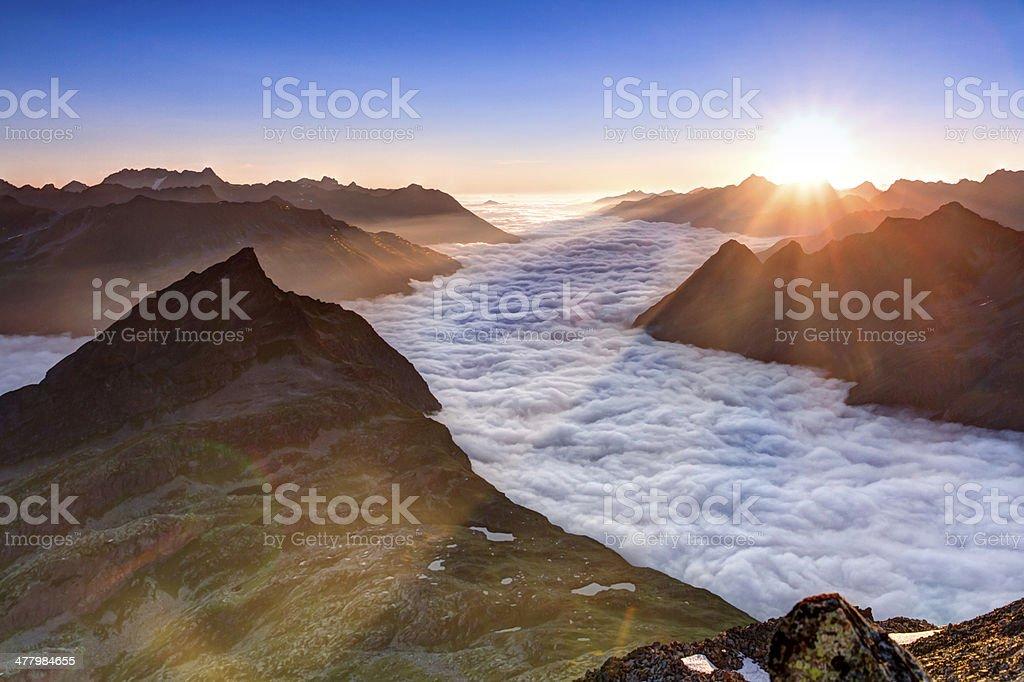Tirol view at sunrise royalty-free stock photo