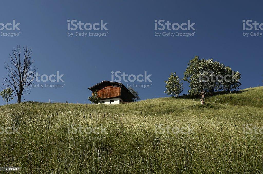 Tirolean Mountain Hut stock photo