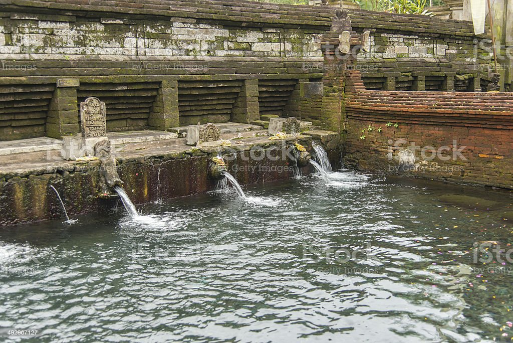 Tirta Empul Temple, Holy pool water, Bali Indonesia stock photo
