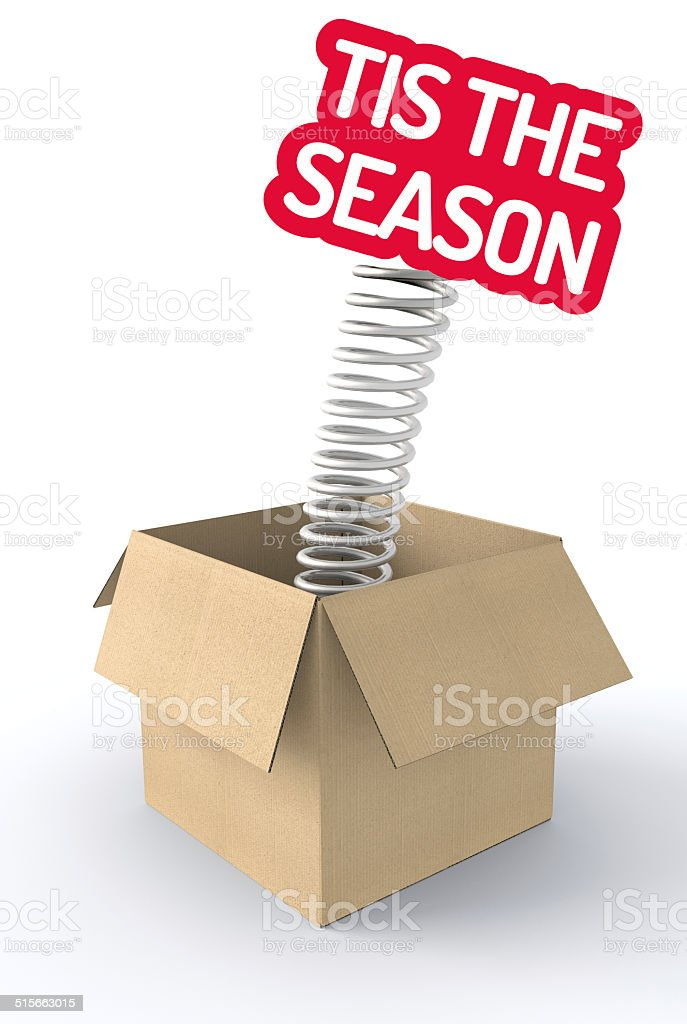 Tis the season jumping from a box stock photo
