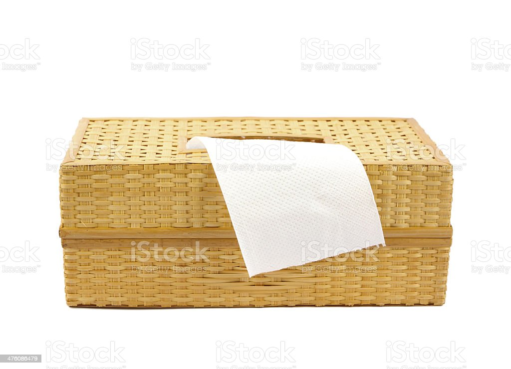 Tissue box made from bamboo isolated on a white royalty-free stock photo