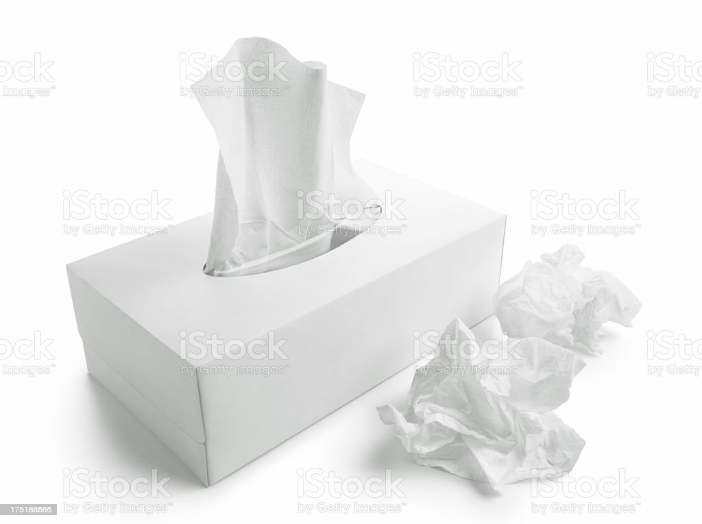 Tissue paper box white background stock photo