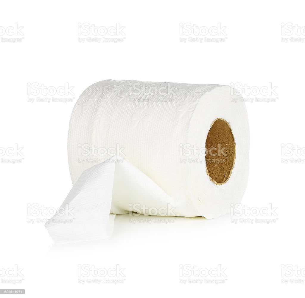 Tissue paper roll on white background. stock photo