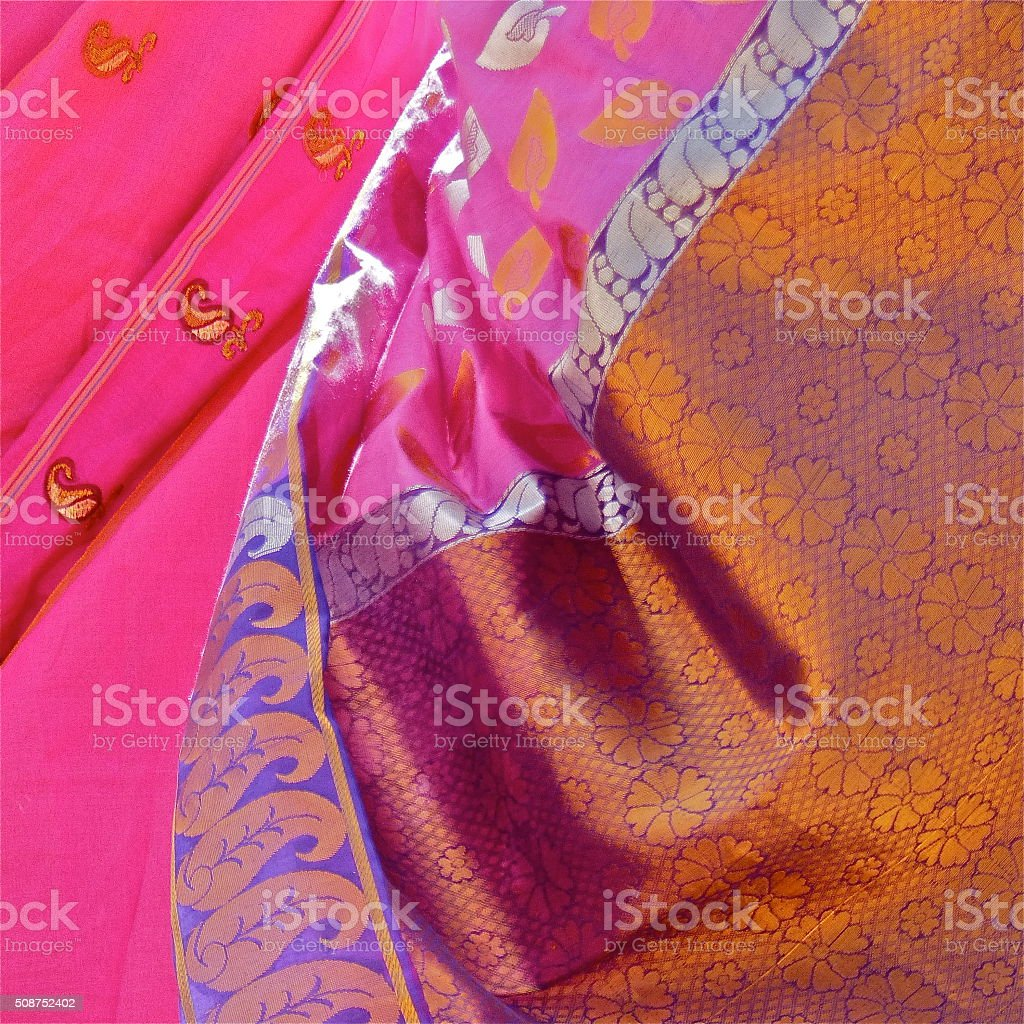 Tissus, Sari, Robe, Rose stock photo
