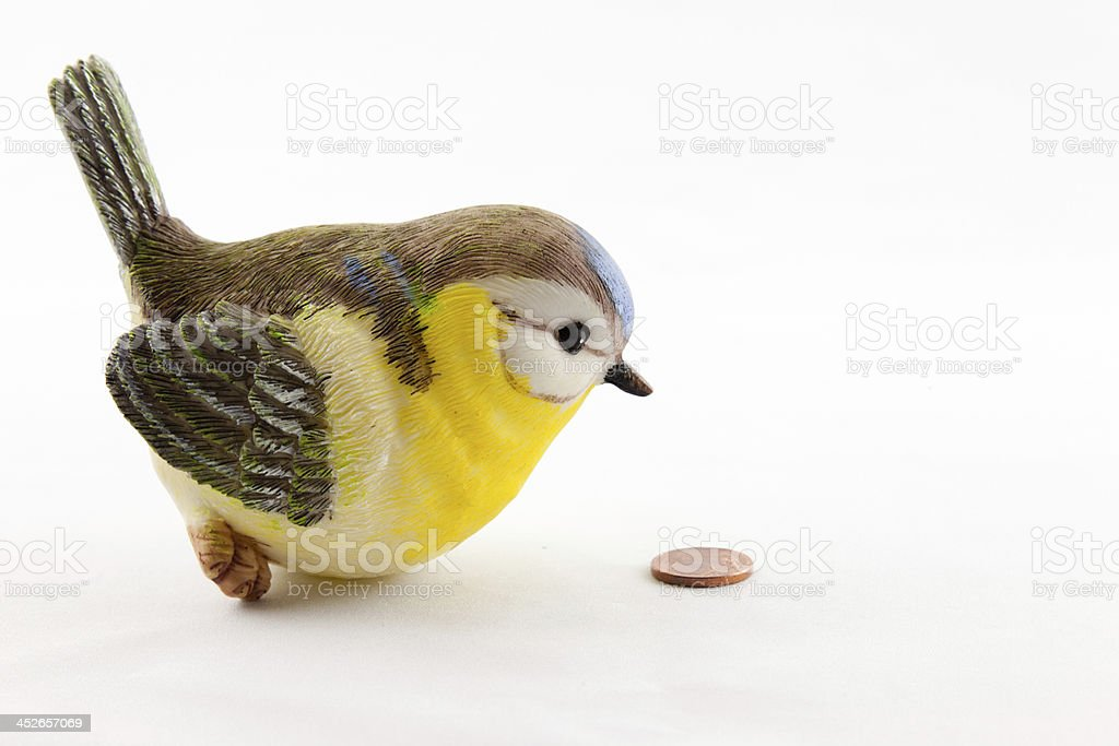 Tit and the coin stock photo