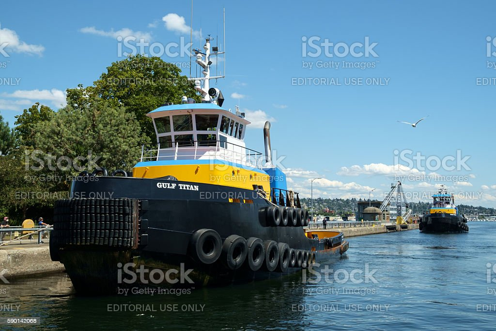 Titan Class tugboats stock photo