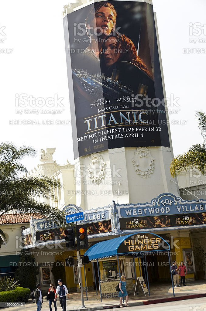 'Titanic 3D' and 'The Hunger Games' Movies Posters at Theater stock photo