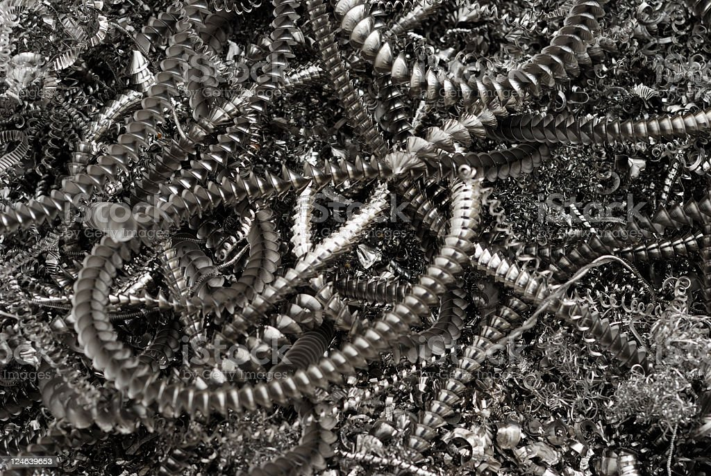 Titanium swarf abstract from a cnc machine royalty-free stock photo