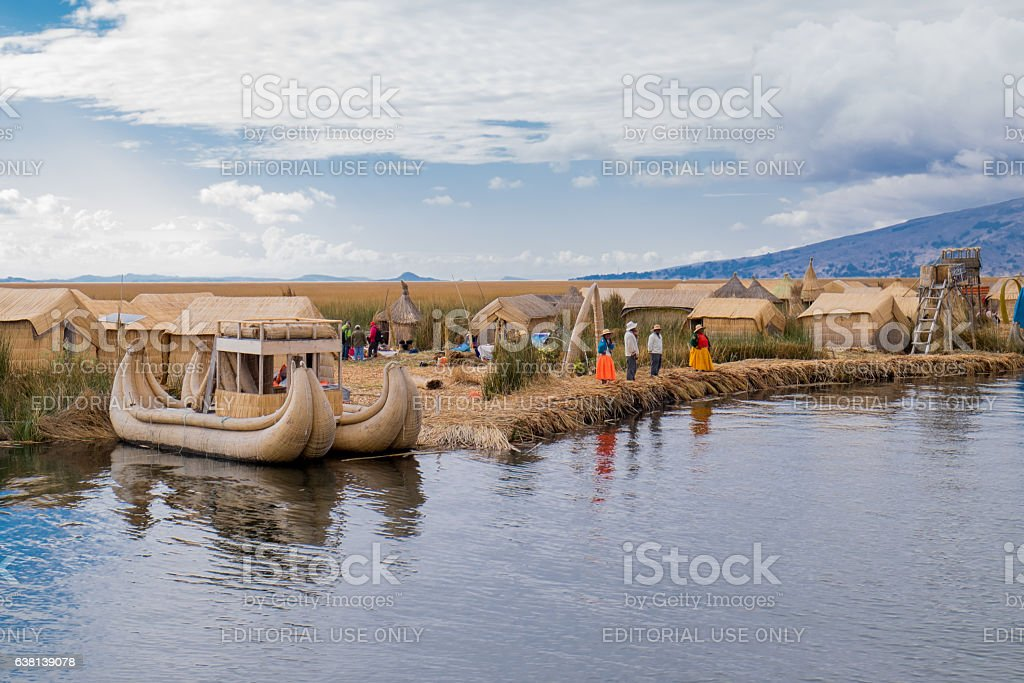 Titicaca Lake and Uros People, Peru stock photo