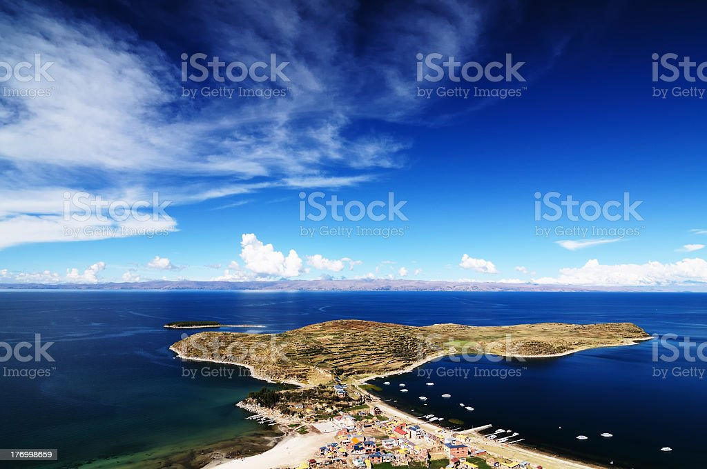 Titicaca lake, Bolivia, Isla del Sol, (Island of the Sun), stock photo