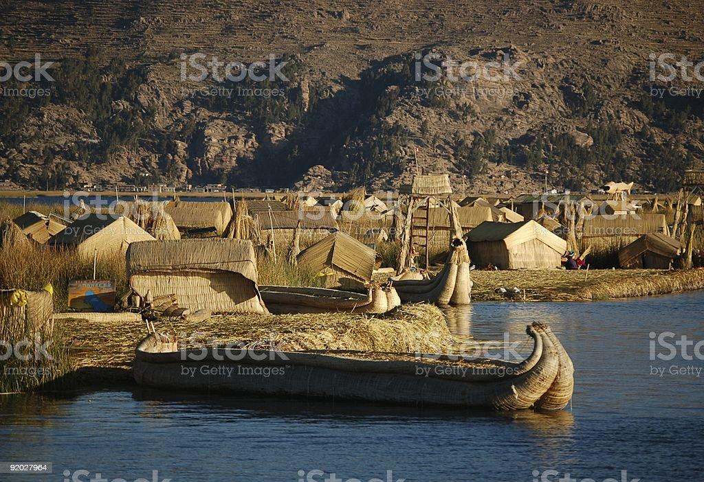Jezioro Titicaca mieszkania i transportu zbiór zdjęć royalty-free