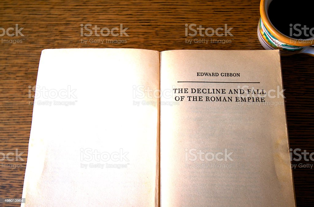 Title Page: 'Decline and Fall of Roman Empire' (Open Book) stock photo