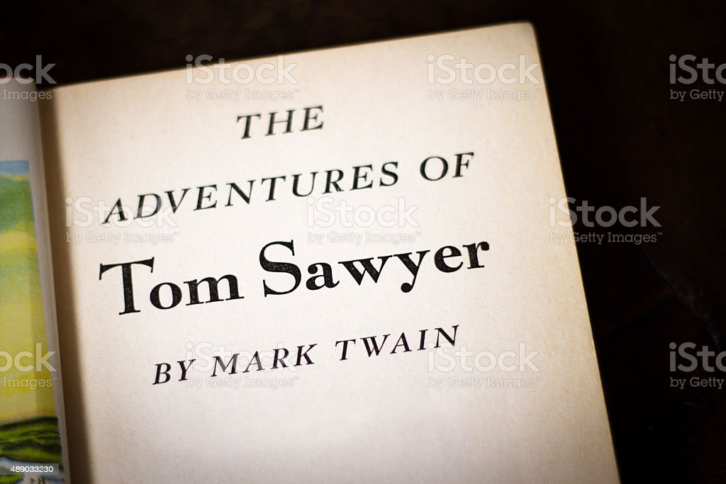 Title Page: 'The Adventures of Tom Sawyer'; Black Background stock photo