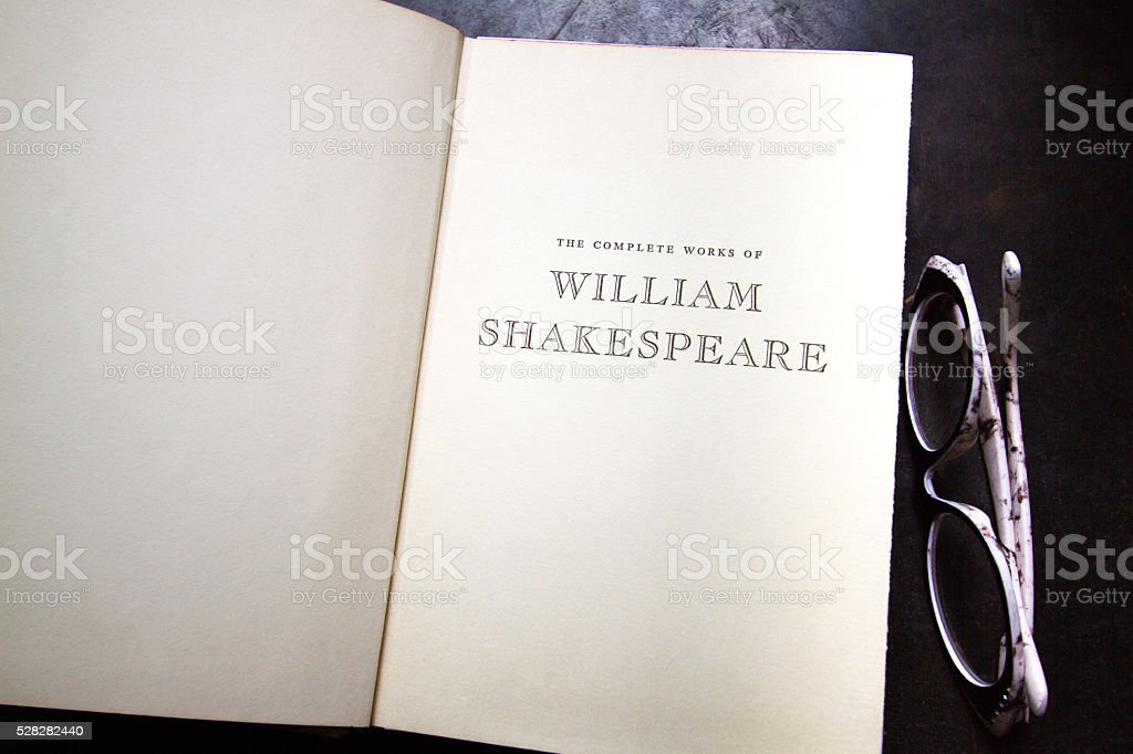 Title Page: 'The Complete Works of William Shakespeare'; Chic Glasses stock photo
