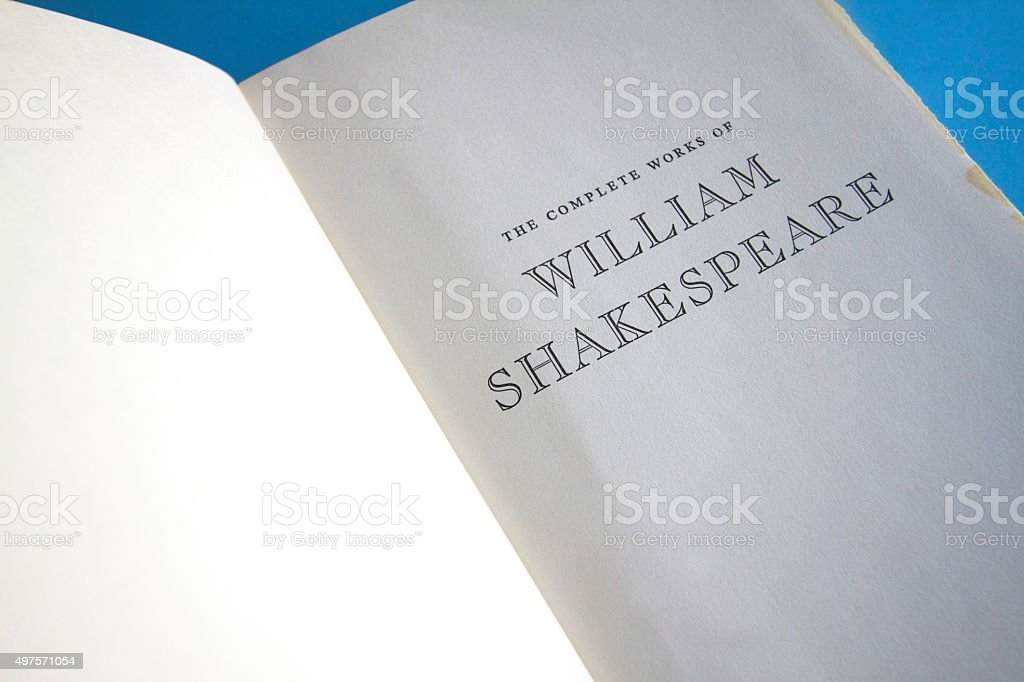 Title Page: 'The Complete Works of William Shakespeare' stock photo
