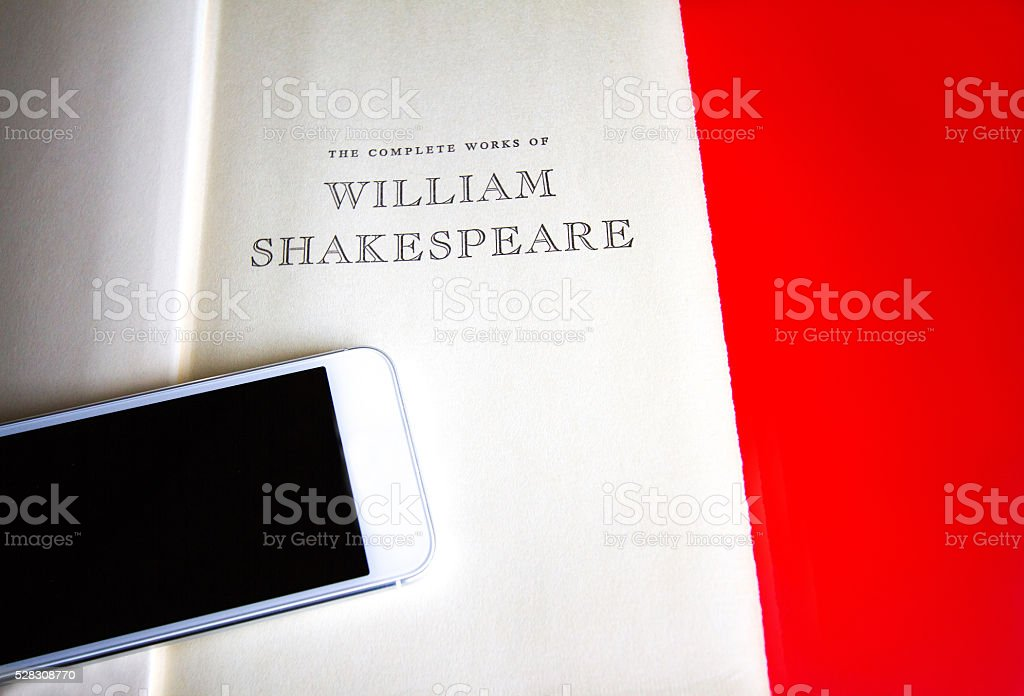 Title Page: 'The Complete Works of William Shakespeare'; Smartphone stock photo