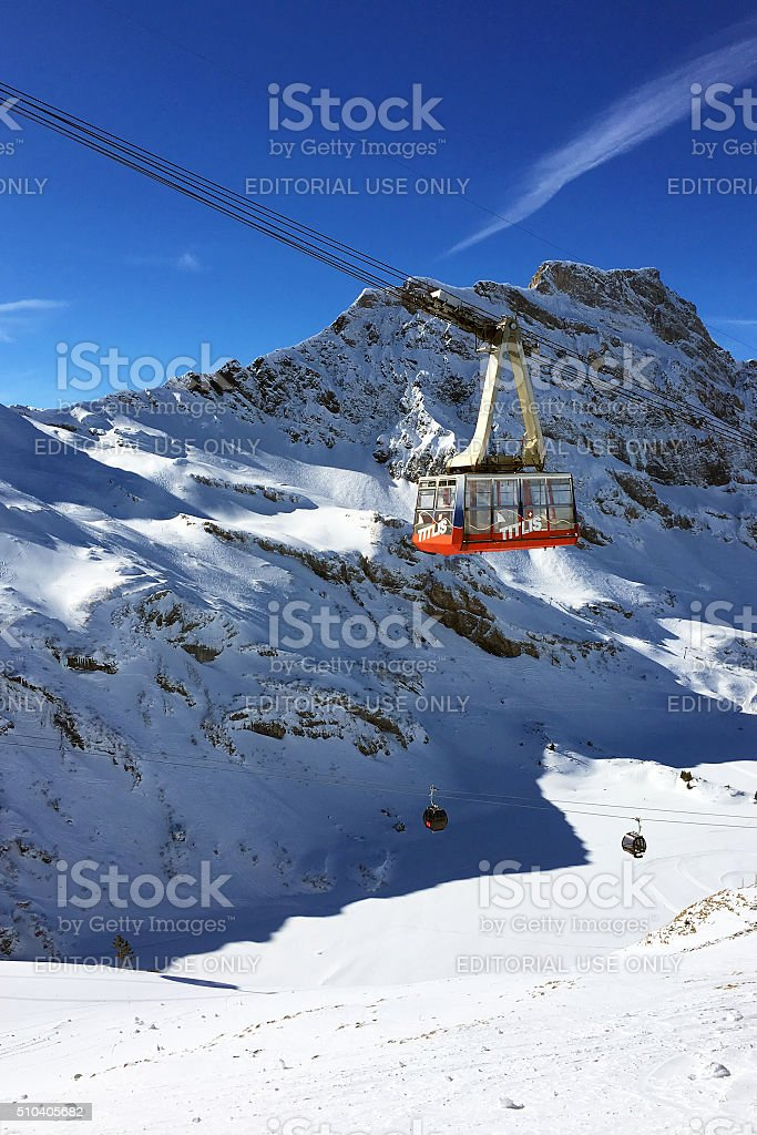 Titlis Cable Car in Winter, Engelberg Switzerland stock photo