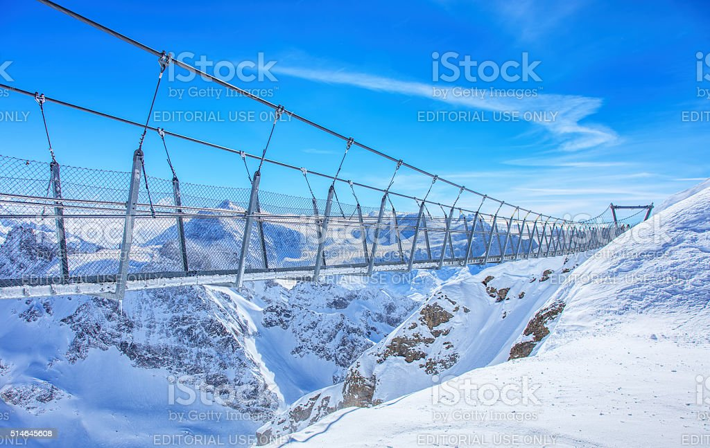 Titlis Cliff Walk suspension bridge stock photo