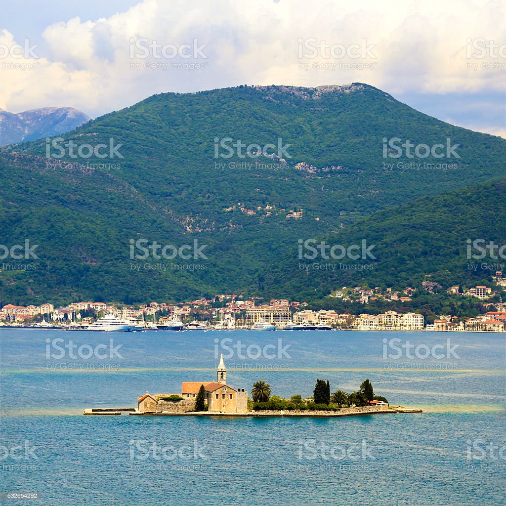 Tivat and Our Lady of Mercy Island stock photo