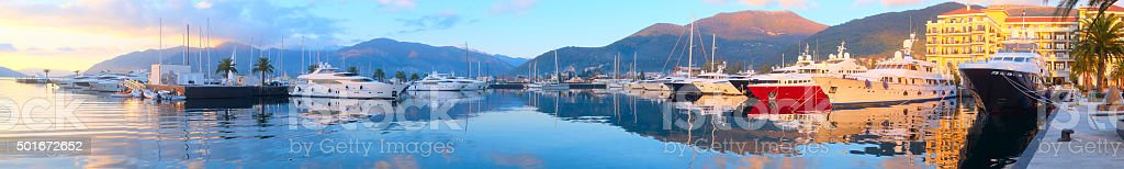 Tivat harbour stock photo