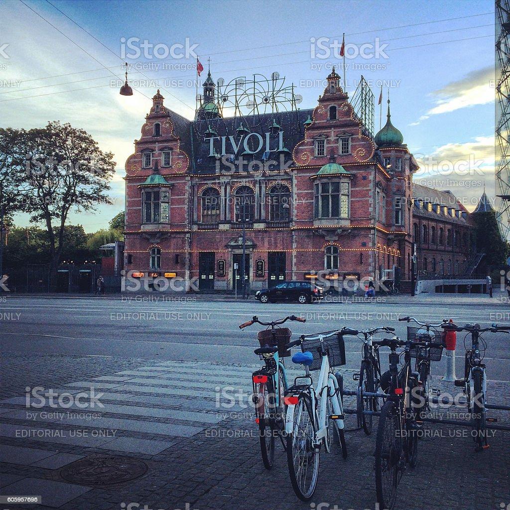 Tivoli and bicycles on Copenhagen street, Denmark stock photo