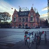 Tivoli and bicycles on Copenhagen street, Denmark