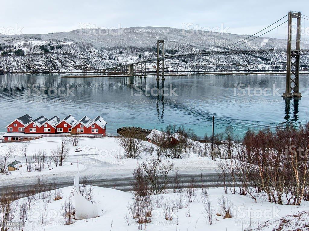 Tjeldsund Bridge and rorbuer, Norway stock photo