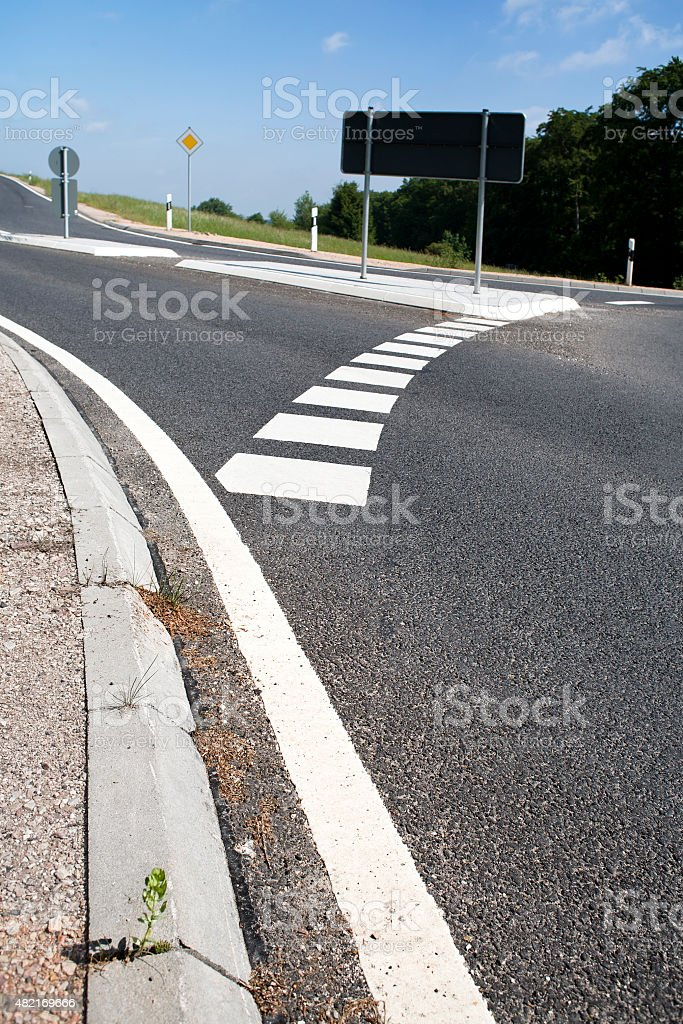 T-junction, road marking stock photo