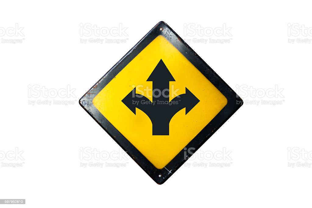 T-junction sign is isolated on white background stock photo