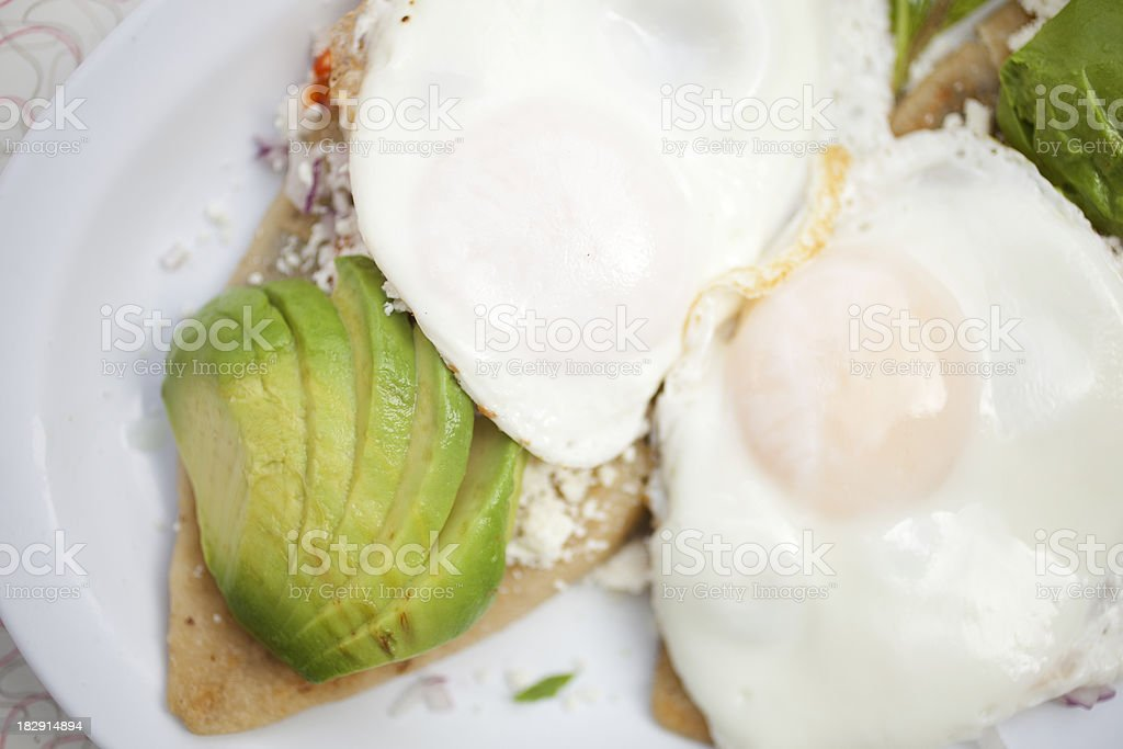 Tlacoyos and eggs stock photo