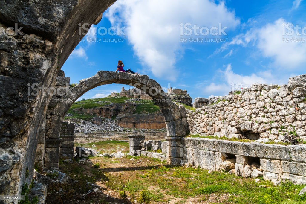 Tlos ancient city from Fethiye / Turkey. stock photo