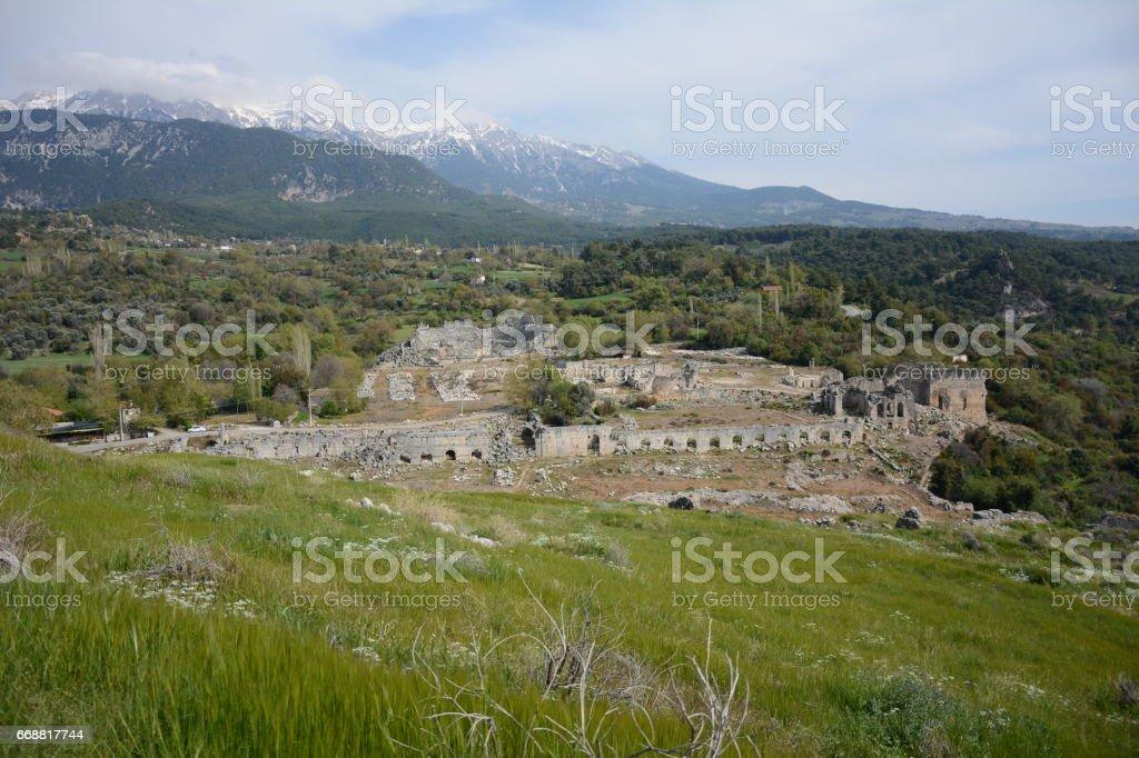 Tlos ancient city stock photo