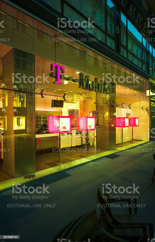 T-Mobile store facade at night stock photo