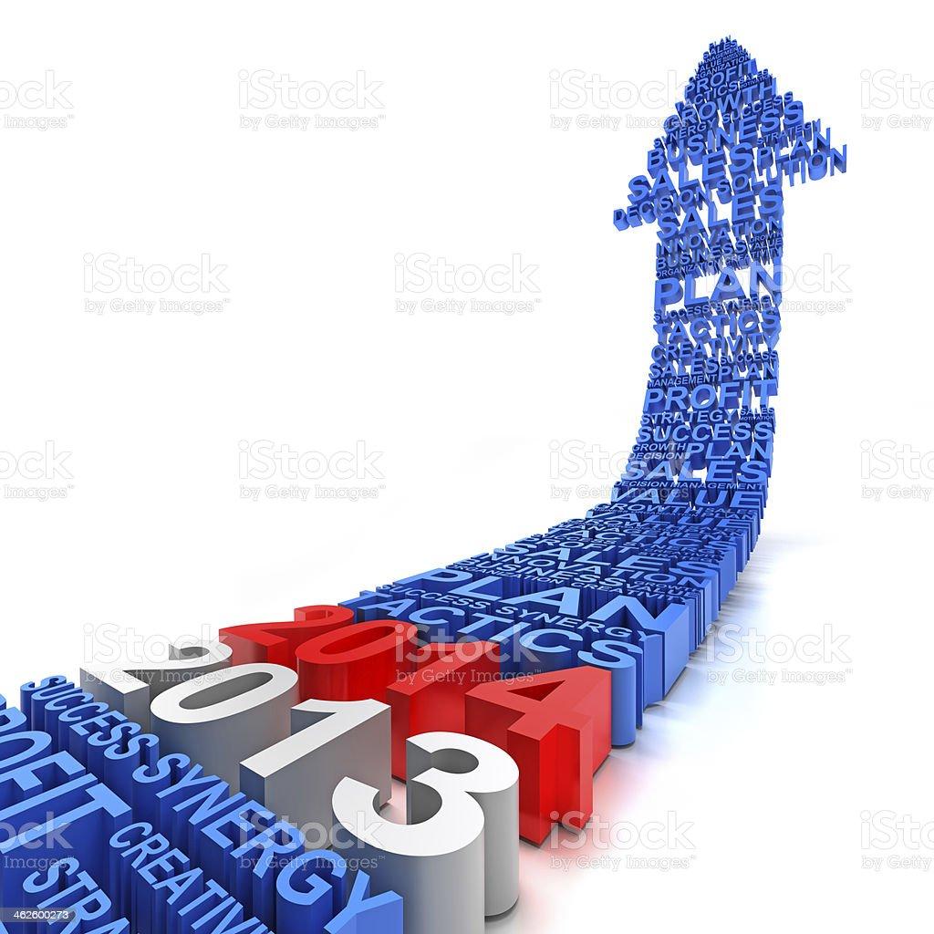 2013 to 2014 business arrow stock photo