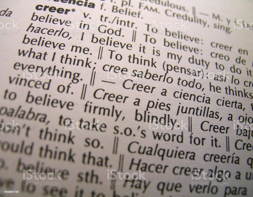To Believe - Verb - Spanish to English Translation stock photo