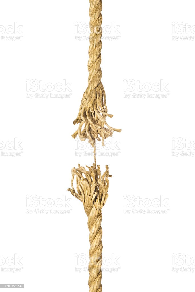 To break a rope. stock photo