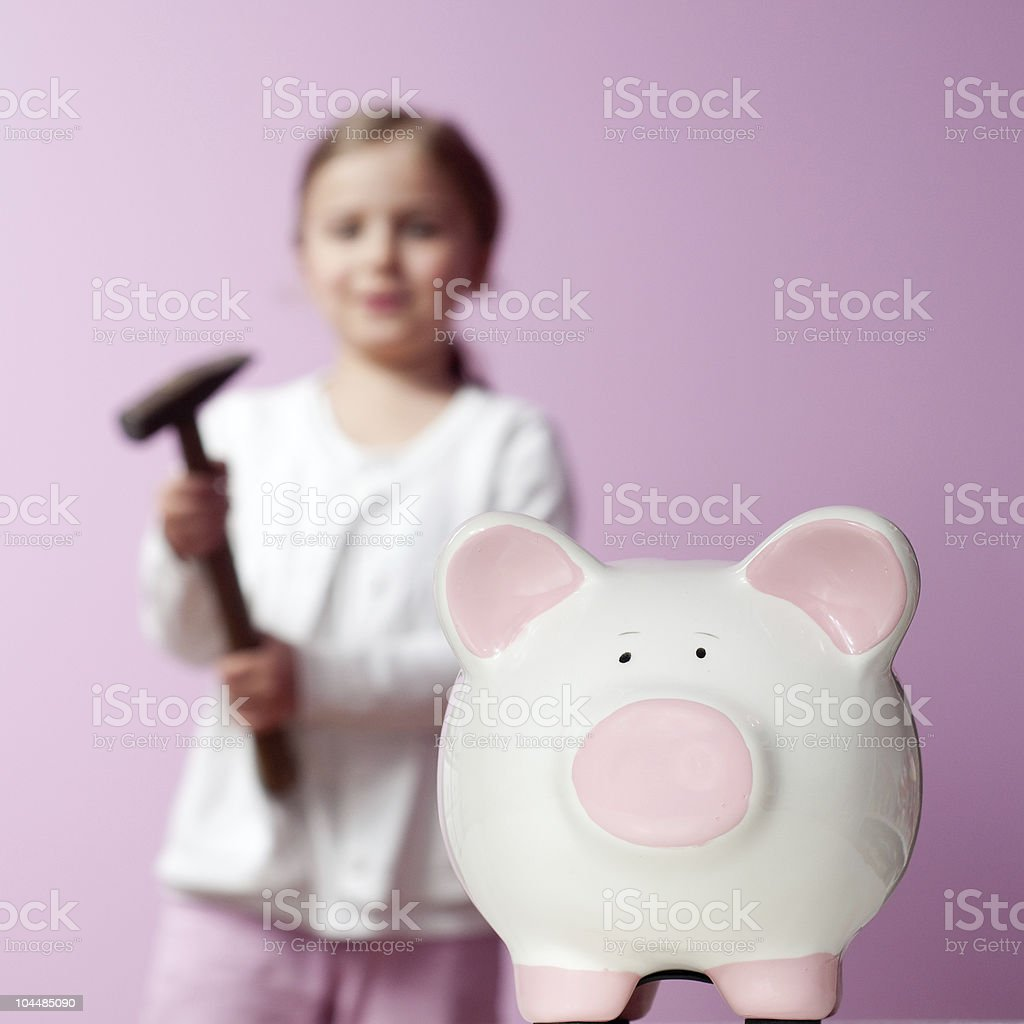 To break piggy bank royalty-free stock photo