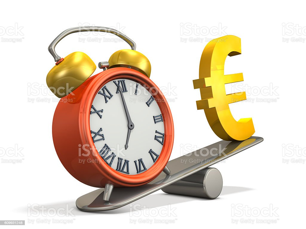 To compare the weight of the watch and money. stock photo