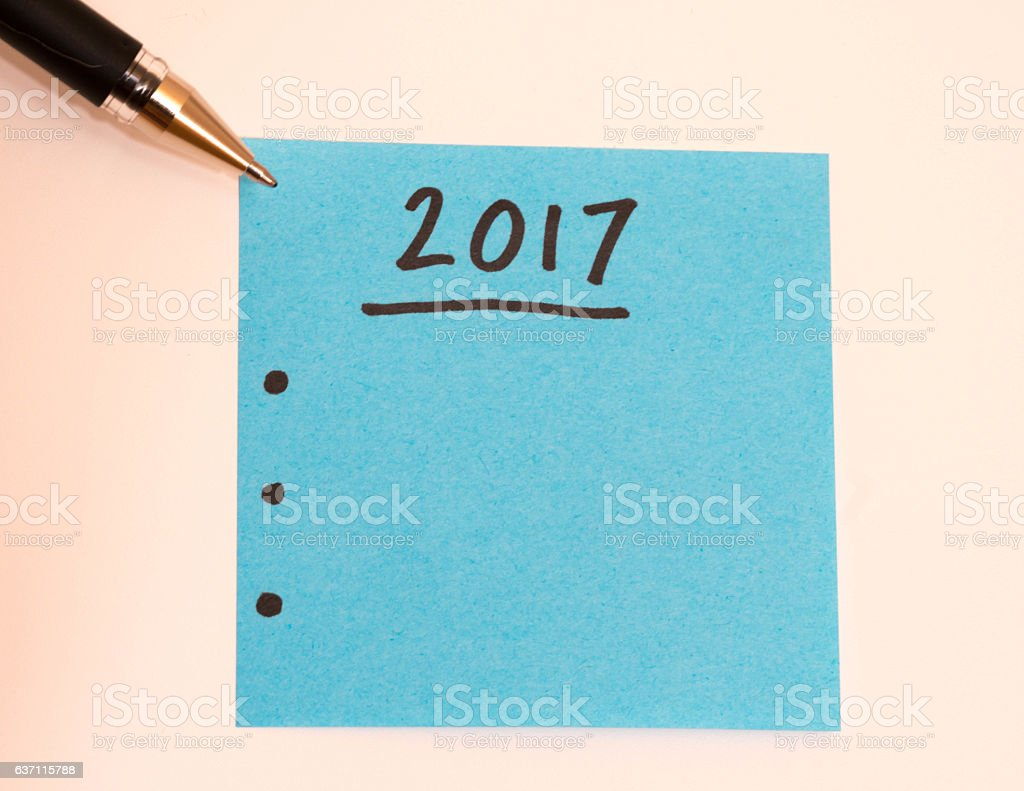 to do list for the new year with black pen stock photo