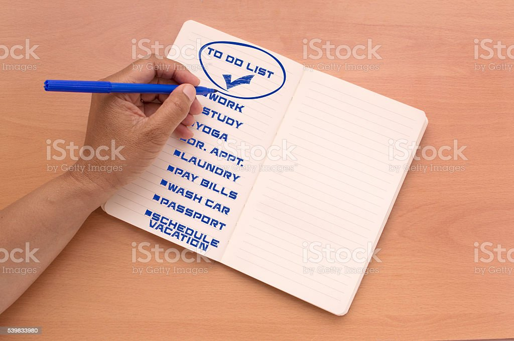 To Do List Notebook stock photo