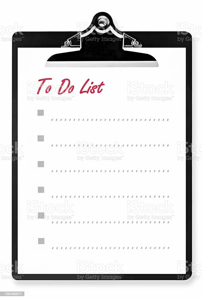 To Do List on Clipboard royalty-free stock photo