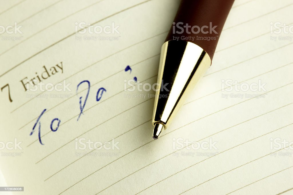 To do list, pen and agenda. stock photo