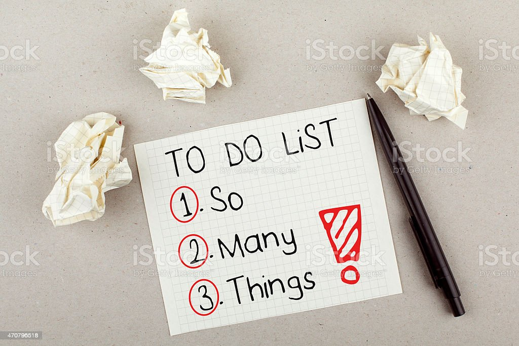 To Do List So Many Things stock photo