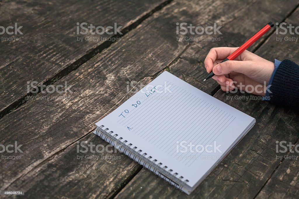 To Do List written in a notebook royalty-free stock photo