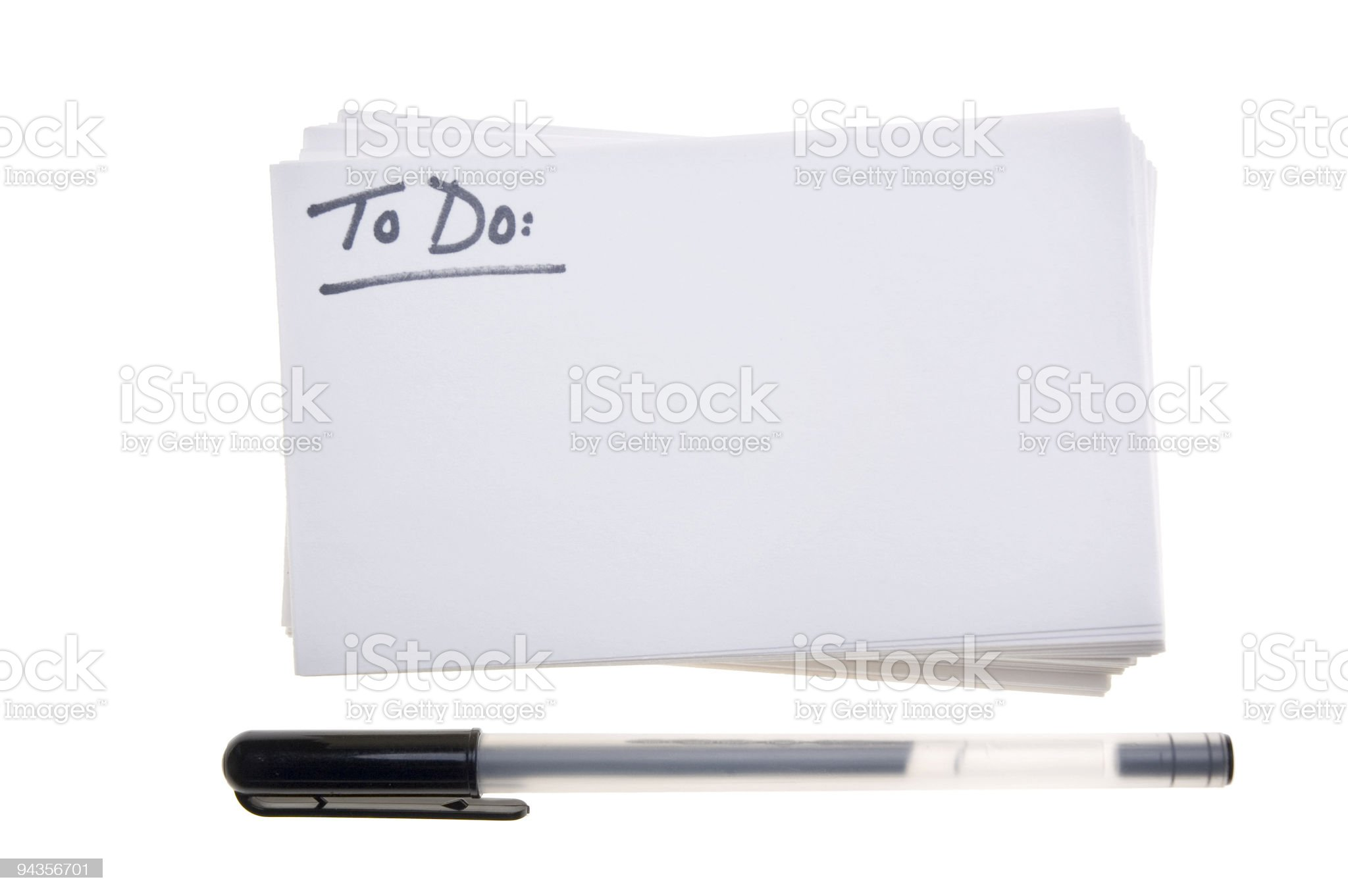 To Do on Index Cards royalty-free stock photo